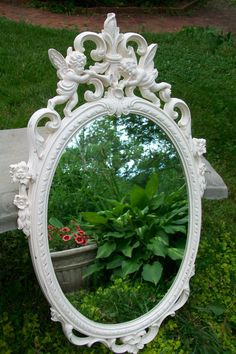 Large Vintage Mirror Syroco Mirror Creamy White by gardenofchic, $109.00