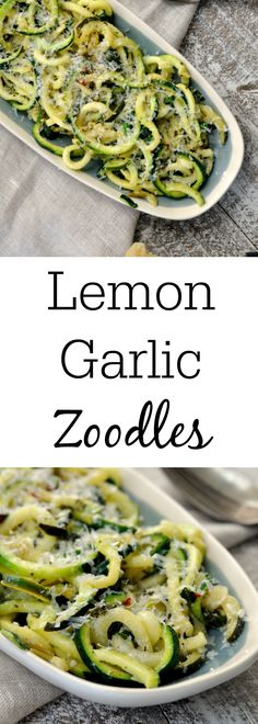 One pan Lemon Garlic Zoodles is a healthy and delicious dinner! It takes less than 15 minutes to make, and tastes amazing! You will have a quick and easy dinner that is packed full of flavor, but low on carbs and fat! Pastas Recipes, Spiralizer Recipes, Diet Recipes, Cooking Recipes, Shrimp Recipes, Cooking Tips, Recipies, Zucchini Ravioli, Zucchini Noodle Recipes