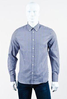Maison Kitsune Men's Blue & White Fox Embroidered Gingham Shirt