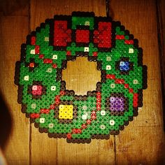 Christmas wreath hama beads by rubi1984