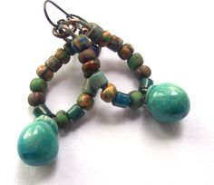Rustic Earthy Tribal Colorful Dangle Earrings Turquoise Bobble Drops, Picasso Finish Czech Glass Beads, Niobium Ear Wires