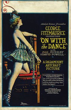 """Movie poster, """"On With the Dance"""", starring Mae Murray, 1920"""