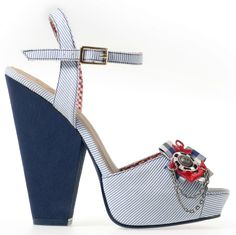 """Nautical+inspired+platform+shoes+with+navy+blue+block+heel+and+adjustable+ankle+straps.++White+&+blue+pinstripe+fabric+design+with+red+gingham+lining.++Gingham+bow+to+front+finished+with+metal+anchor+motif.++Peep+toes. + Heel+height:+approx.+12+cm+(4.75"""")++  Material:+Textile+(synthetic)"""