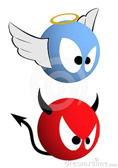 Good and evil emoticons