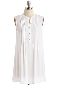 Vacay Adventure Top in White. An agenda-free day on the resort could lead to anything from exploring the local market to a shoreline treasure hunt - with this crisp white tunic youre ready for it all! #white #modcloth