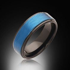 Men's Blue and Black Ring,6mm,New,Unique,Satin Brushed Blue Ring,Tungsten Ring,Wedding Band,Blue Ring,Comfort Fit