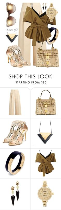 """""""She Is Blonde & She Is Be-You-tiful (Dedicated with Description)"""" by sharee64 ❤ liked on Polyvore featuring Fendi, MCM, Rupert Sanderson, Marni, Acler, Alexis Bittar, Shinola and Jimmy Choo"""