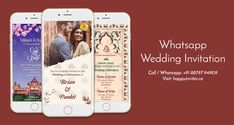 Invite your guest with Whatsapp Wedding Invitation. It is trendy, Classy & unique. Use it for Wedding, Engagement, Reception with Photos & without photos. Indian Wedding Invitation Cards, Wedding Invitation Video, Traditional Wedding Invitations, Unique Wedding Invitations, Wedding Cards, Online Invitations, Digital Invitations, Save The Date Video, Wedding Logos