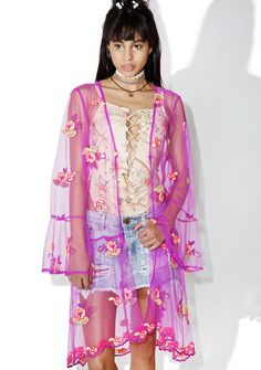 Melody Kimono if a pretty grrl is like a melody, then a badass babe must be like a shreddin' guitar solo! This vibrant kimono features a sheer purple mesh construction, bright pink and yellow floral appliques, bell sleeves and scalloped hemline.