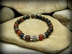 Mens Bracelet, Matte Agate Stones, Mens Mala  Bracelet, Mens Jewelry, by StoneWearDesigns