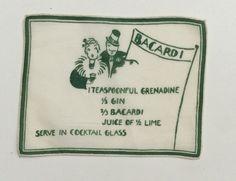 Vintage Cocktail Textile Art Deco Drink Recipe by unclebunkstrunk