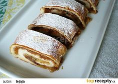 Jablkový rychlý závin recept - TopRecepty.cz Strudel, Dessert Recipes, Desserts, Banana Bread, French Toast, Cabbage, Sweet Home, Food And Drink, Cupcakes