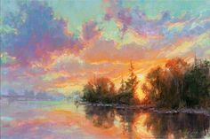 sunset clouds sky oil landscape painting with water reflections