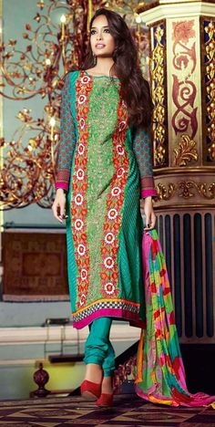 USD 46.14 Turquoise Georgette Churidar Suit 44673