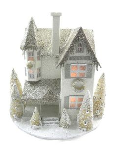 Large Glitter House Ornament by KD Vintage. This ornament is inspiring me to do one tree with all houses since I love them so much.