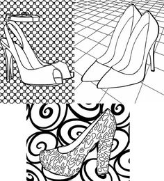 high heel shoes adult coloring pages instant by ElizavellaArt
