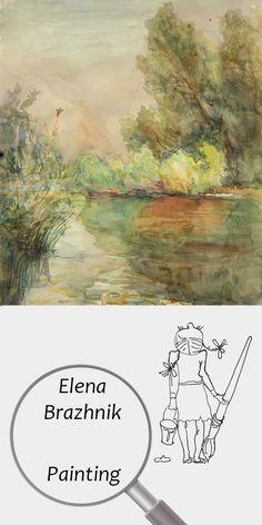 "Elena Brazhnik   Painting   Printable   Design   Interior   Instant Download   ""Gulf of Desna"" (fragment)   Landscape Watercolor Paper Green Yellow Orange Morning River Summer Reflections Digital Image for Print   №LW-002"