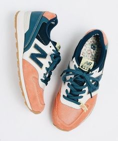 Fresh orange / peach + white + blue / teal / green sneaks #shoes #sneakers