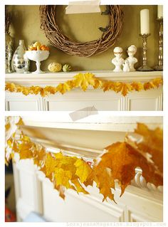 leaf garland tutorial.  she uses straws on the back of the leaves.