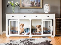 Double dog crate furniture diy plans 20 new ideas Double Dog Crate, Large Dog Crate, Double Dog House, Large Dogs, Small Dogs, Toddler Dog Costume, Dog Crate Furniture, Furniture Dog Kennel, Furniture Stores