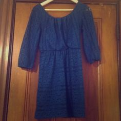 Cute Blue Lace Dress The picture doesn't do it justice! It is super cute and just needs a belt. Size X small but fits a small. Delias Dresses