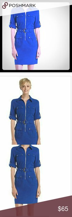 MICHAEL KORS Blue Dress Belted Shirt Dress by MICHAEL KORS featured in a beautiful blue color!  Brand new, never worn!! MICHAEL Michael Kors Dresses Mini