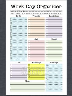 Mini Work Organizer Half Letter Size printable planner – Office Organization At Work To Do Planner, Weekly Planner, Life Planner, Happy Planner, College Planner, College Tips, Daily Work Planner, Meeting Planner, Arc Planner