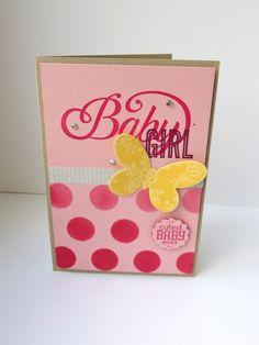 Roze babykaart met een vleugje geel, gemaakt met de Dots Mask, Butterfly Basics, Celebrate Baby, Label Love #stampinup #vlinder #ButterflyBasics #kaart #DIY #stempelen #knutselen #babykaart #meisje #Butterflies #Thinlits