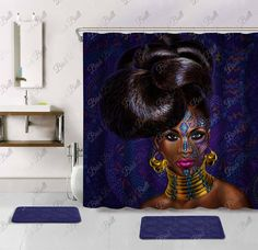 """Afro African American BLACK Girl Shower Curtain Rock Watercolor Hair 72/""""W X 72/""""H"""