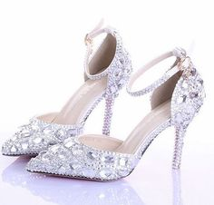 9cm Thin high heeled summer silver rhinestones ankle strap pumps for woman, GD004 fashion luxury pointed toe wedding sandals