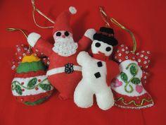 vintage beaded felt Christmas ornaments.  1950's stuffed sequin ornament collection.