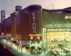 This picture from Vintage Toronto shows the Eaton Centre in the year it opened at Toronto's Yonge and Dundas intersection. The name stayed the same, but Eatons department store went out of business in Toronto Ontario Canada, Toronto City, Downtown Toronto, Eaton Centre, Canadian Things, Yonge Street, Toronto Photos, Canada Eh, Canada Trip