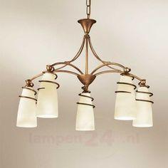 5-lichts hanglamp Daniele, antiek messing 6059290
