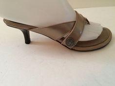COLE HAAN Sandal Kitten Heel Metallic Leather Strap sz 5 B Medium #ColeHaan #KittenHeels #Casual