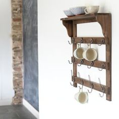 Wooden Wall Shelf With Hooks - shelves