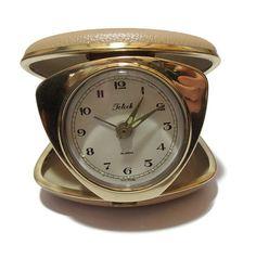 1950s Telock beige travel clock. by Retrofanattic on Etsy