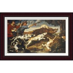 "Global Gallery A Boar Hunt by Frans Snyders Framed Painting Print Size: 16.63"" H x 26"" W"