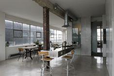 #Newinnyard #concrete #pillars #steelcolumns #factoryconversion #openplan #ironwroughtspiralstaircase