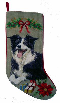 """Border Collie Dog Christmas Needlepoint Stocking - 11"""" x 18"""""""