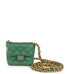 vintage-chanel-green-satin-mini-cross-body-bag-necklace-G