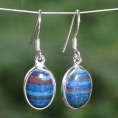 """HOT SELL 925 STERLING SILVER Rainbow Chalsilica EARRING 3.73g ER3854 L-1.25""""…"""
