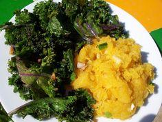 The Urban Poser:: Rethinking Breakfast: Sauteed Kale w/Garlic Spaghetti Squash