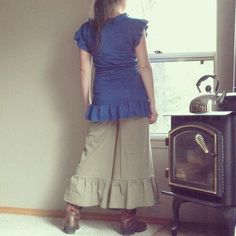 Easy Rider split skirt Ruffles hemp and organic by louderthanwords
