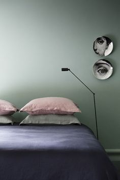 Eclectic bedroom with cultiver linen Home Bedroom, Bedroom Wall, Bedroom Decor, Wall Colors, House Colors, Green Rooms, My New Room, Colour Schemes, Beautiful Bedrooms