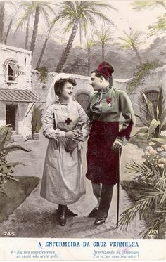 WWI Red Cross Nurse and Her French Colonial Soldier Sweetheart.