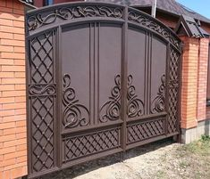 Outer or main gate Grill Gate Design, House Main Gates Design, Steel Gate Design, Front Gate Design, Door Gate Design, Main Door Design, Fence Design, Wrought Iron Driveway Gates, Metal Garden Gates