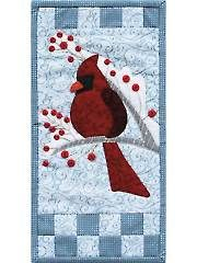 New Quilt Patterns - Winter Cardinal Mini Wall Hanging Pattern or Button Pack