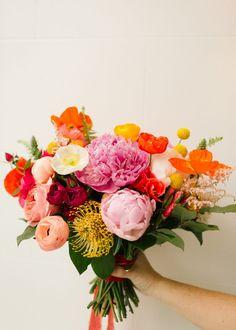 Bright Wedding Colors, Modern Wedding Flowers, Bright Flowers, Floral Wedding, Colourful Wedding Flowers, June Wedding Flowers, Quirky Wedding, Summer Wedding Bouquets, Bride Bouquets