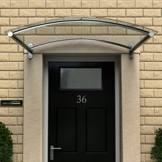 Basic canopy. Not sure about the curve. *BESPOKE Type J Glass Door Canopy