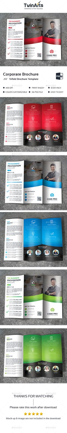 Trifold — Photoshop PSD #tri fold #corporate • Available here → https://graphicriver.net/item/trifold-/17888255?ref=pxcr